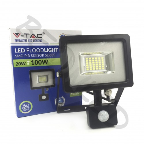 20W Proyector LED Sensor de Movimiento Negro Luz Fría