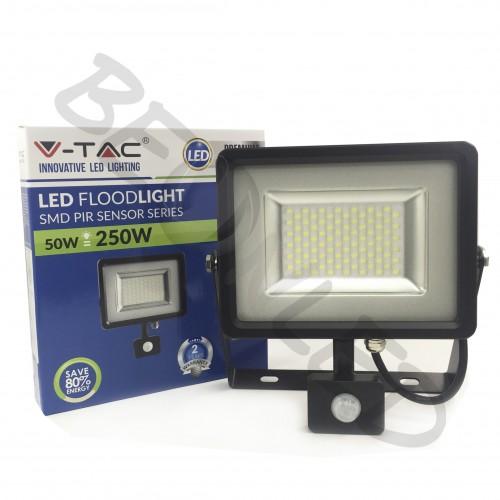 50W Proyector LED Sensor de Movimiento Negro 6000K