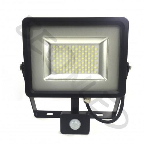 50W Proyector LED Sensor de Movimiento Negro Luz Cálida