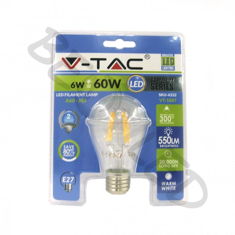6W E27 A60 Filamentos Luz Cálida Blister