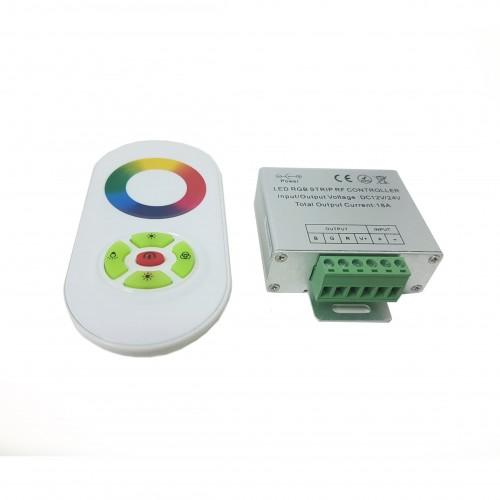 Mando Táctil Via Radio + Controlador RGB 18A 12V/24V