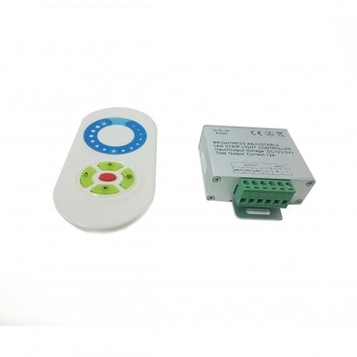 Mando Tactil Via Radio+Controlador Dimmer 12A 12V/24V