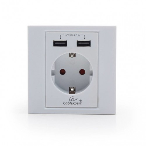 Toma Schuko + 2xUSB Color Blanco