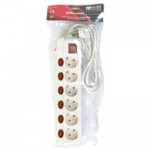 Base Múltiple Supra Interruptor Individual 6 Tomas Blanco